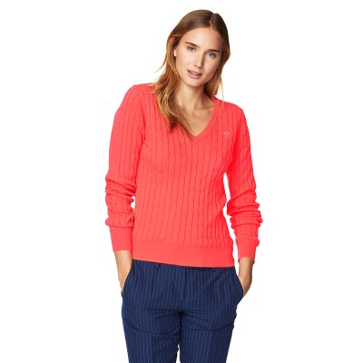 Pulover Stretch Cotton Cable V-Neck