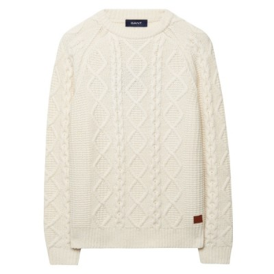 Camisola Chunky Wool-Blend Cable Crewneck