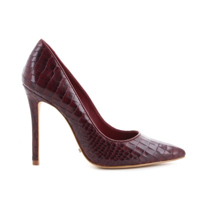 SCARPIN HIGH HEELS CROCO RED WINE